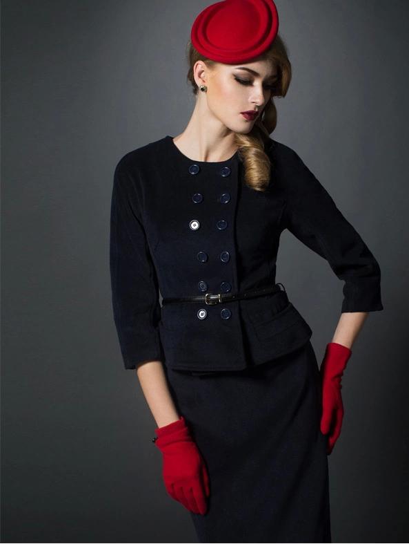 双排扣女大衣