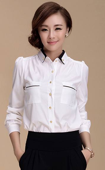 黑白拼色衬衫