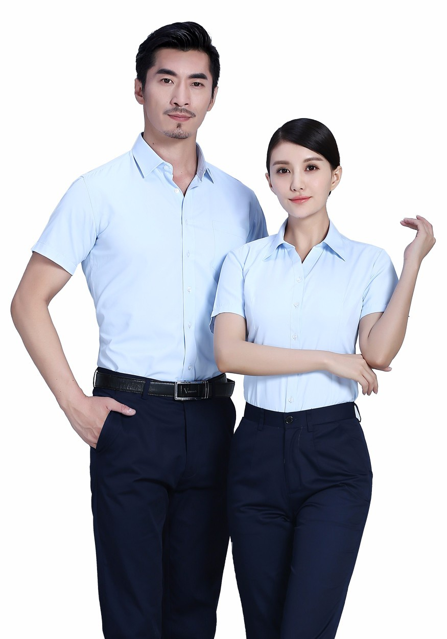 衬衫浅蓝男浅蓝商务短袖衬衫