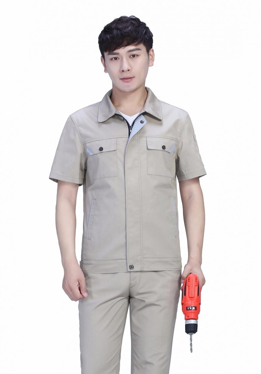 新款卡其色防静电夏季涤棉细斜短袖工服FY630