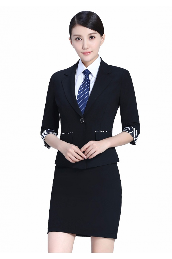 新款黑色女夏装半袖职业装女装
